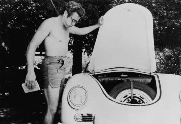 Vintage Pic James Dean Washing His First Porsche A